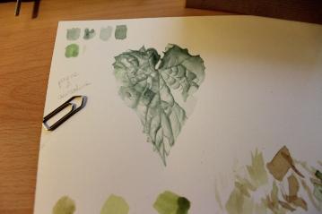 Practicando la textura de una hoja /// Practicing a leaf texture